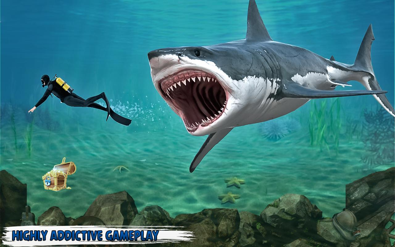 Angry shark survival hunger free games android apps on for Survival fishing games