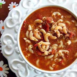 Classic Beef & Tomato Macaroni Soup.