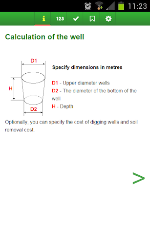 Calculate volume of the well