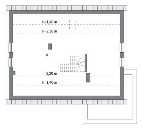 Magiczny świat - M189 - Rzut poddasza do indywidualnej adaptacji (83,9 m2 powierzchni użytkowej)