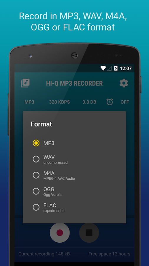 🎤 Hi-Q MP3 Voice Recorder (Free)- screenshot