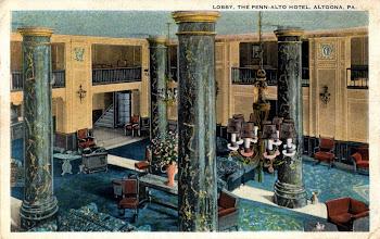 Photo: Colorized postcard view of main lobby, Penn Alto Hotel.