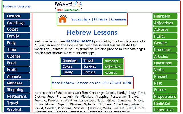 Learn hebrew ca hng chrome trc tuyn please enjoy our hebrew lessons provided by polymath as you can see on the side menus we have several lessons related to m4hsunfo