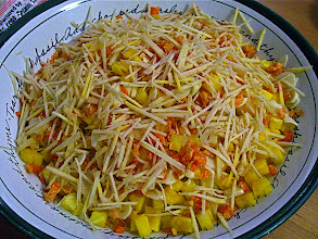 Photo: pineapple noodles topped with slivered young ginger