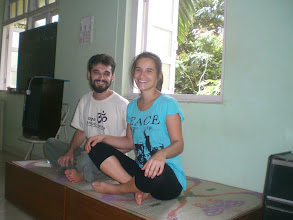 Photo: Daniel Fonseca and his sister Lysiane in the class room of The Yoga Institute of Santacruz, Mumbai - June 2008.