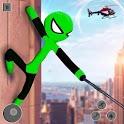 Flying Stickman Rope Hero: Flying Hero: Crime City icon