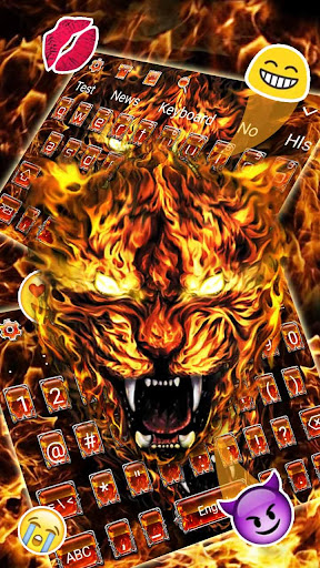 Grim Fire Tiger Keyboard Theme 10001003 screenshots 2