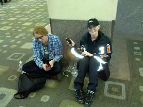 Photo: FedEx sponsored human phone chargers.