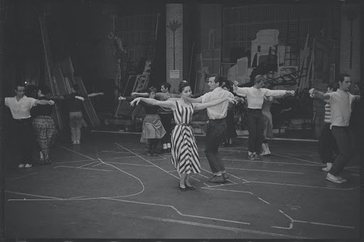 Jerome Robbins directs Carol Lawrence and Larry Kert in rehearsal for the stage production West Side Story