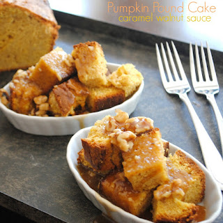 Pumpkin Pound cake with Caramel Walnut Sauce