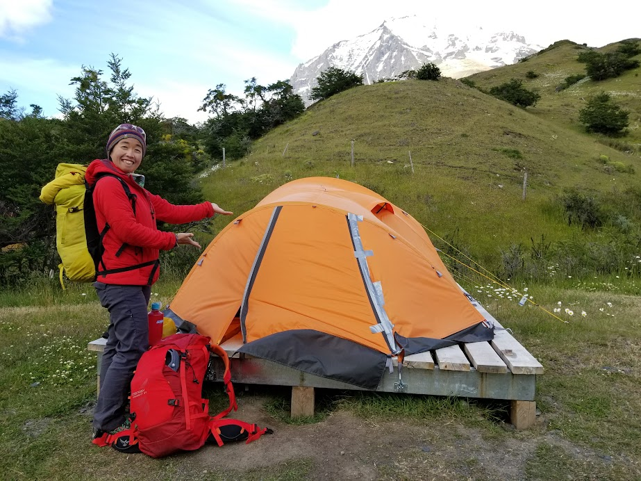 Renting a Plataforma Premium at Torres Central campground. Notice our small backpacks.