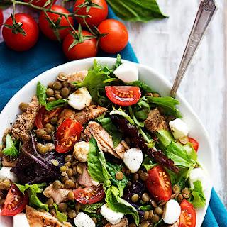 Salmon & Lentil Caprese Salad