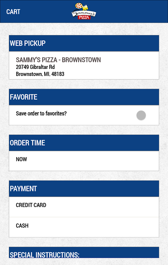 Sammy's Pizza- screenshot