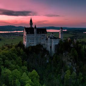 Kingdom of King Ludwig II by Rashid Ramdan - Landscapes Sunsets & Sunrises ( canon, deutschland, nature, sunset, castle, germany, travel, landscape, spring )
