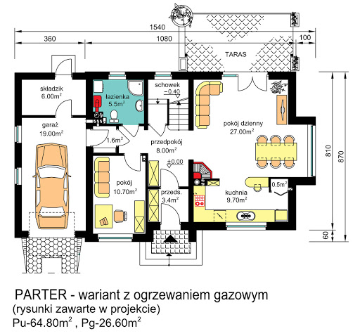 BW-03 uproszczony - Rzut parteru - propozycja adaptacji - ogrzewanie gazowe