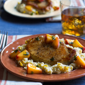 New York Pork Chops with Peaches and Chipotle-Corn Mashed Potatoes