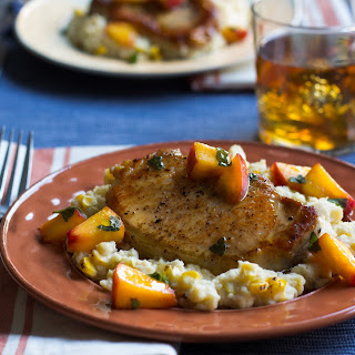 New York Pork Chops with Peaches and Chipotle-Corn Mashed Potatoes.