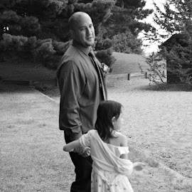 Father and Daughter by Kasha Newsom - Wedding Groom ( groom, wedding photography, wedding, black and white, daughter, summer wedding )