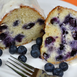 Blueberry Cake with Sour Cream Icing.