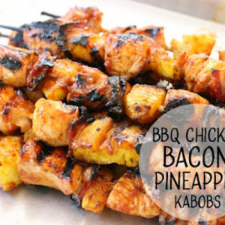 BBQ Chicken Bacon Pineapple Kabobs.