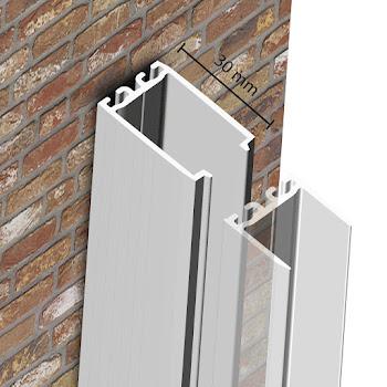 Profilé de compensation, 30 mm, aspect chromé, pour porte pivotante et battante NewStyle