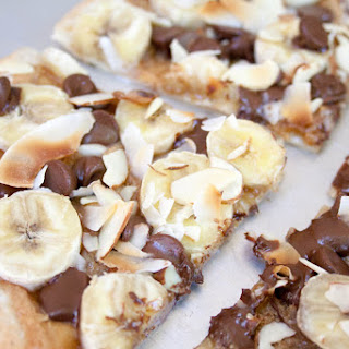 Banana, Chocolate and Peanut Butter Dessert Pizza.