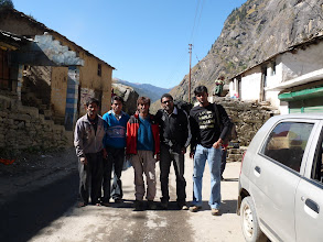 Photo: Trek team. Me , Kalyan , our guide and 2 porters. Startin off on what would be a steep journey