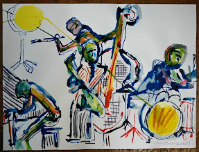 """Photo: Mellow jazz connecting yellow drum, 2008 - Ink on Paper - 18"""" X 24"""""""