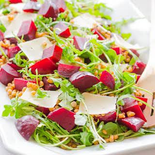 Beet Salad with Barley, Arugula and Parmesan.