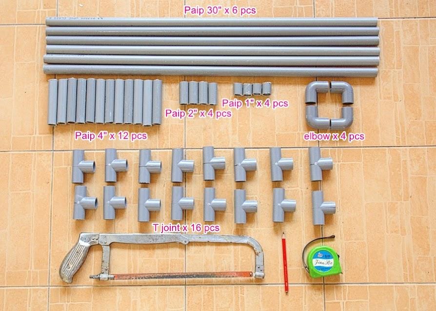 senarai bahan-bahan diperlukan untuk bina rak kasut
