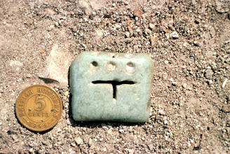 Photo: Lithics also include polished stone like this small jade item from Belize (Mayan).