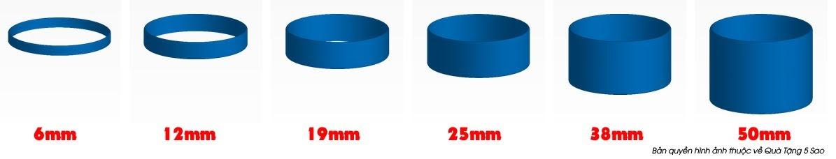 Kích thước chiều rộng vòng tay cao su