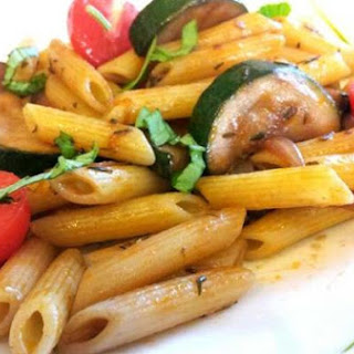 Penne and zucchini tossed with a spicy Shiraz sauce
