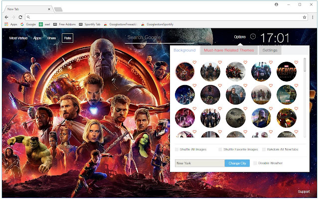 (11445). Photos. 106,816 users. Overview. Runs Offline. New Tab themes with HD wallpapers of the Avengers Infinity War ...