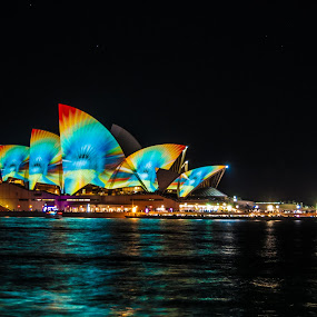 by Carley Reed - City,  Street & Park  Skylines ( lights, water, harbour, vivid, dark, opera house, sydney, colours )