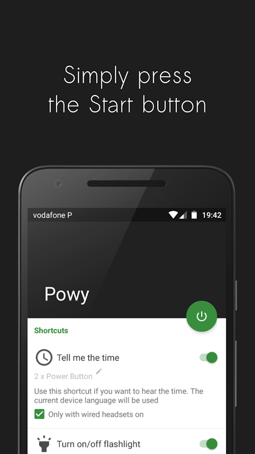 Powy - Power button shortcuts- screenshot