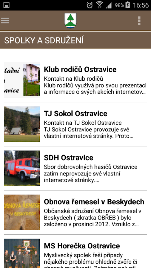Obec Ostravice- screenshot