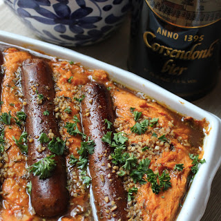 Belgian Vegan Sweet Potato Stoemp with Sausages.