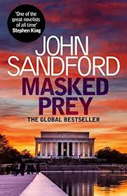 Book cover: John Sandford: Masked Prey, The Global Bestseller; image of Jefferson Monument from the reflecting pond