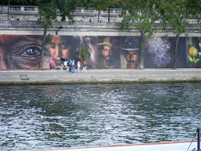 Photo: And some impressive murals on the opposite bank.
