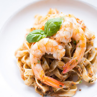 Tagliatelle With Red Pesto And King Prawns.