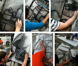 Photo: observational drawing building up + removal ghost drawings
