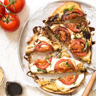 Caprese Hummus Flatbread Pizza.