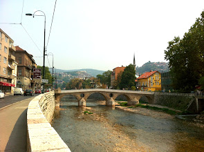 Photo: Latin bridge where Archduke Franz Ferdinand of Austria - heir to throne - was assassinated, which sparked WWI.  Sarajevo.