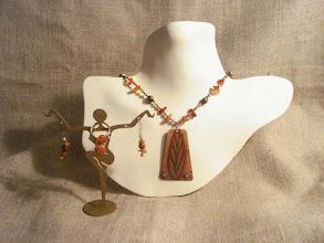 Photo: <BEREHYNYA> {Great Goddess Protectress} unique one-of-a-kind statement jewellery by Luba Bilash ART & ADORNMENT  Copper enamel pendant, carnelian, glass, brass, 14k gold vermeil NFS