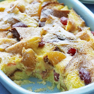 Strawberry and Peach Bread Pudding