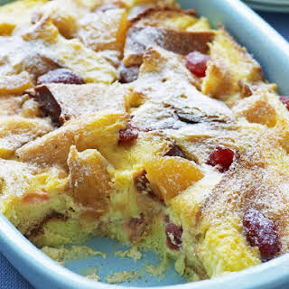 Strawberry and Peach Bread Pudding.