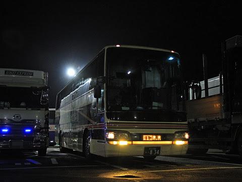 東北急行バス「ニュースター号」夜行便 ・834 国見SAにて