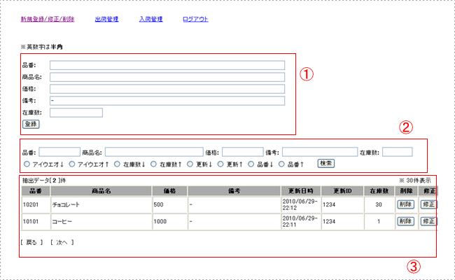 インターネット在庫管理システム「Lask2」の画面
