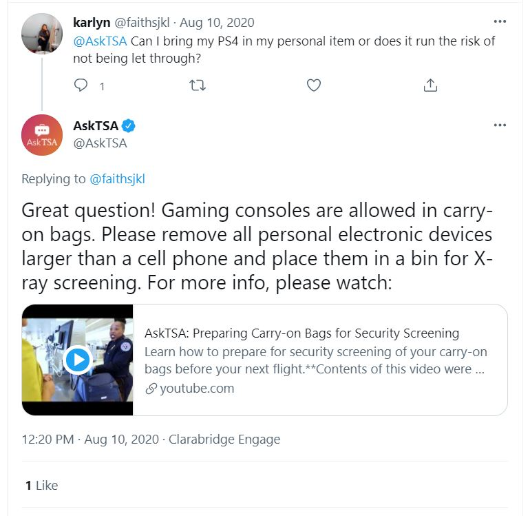 Ask TSA - can I bring my PS4 as a carry-on?